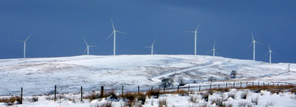 Craigengelt Wind Farm in Winter